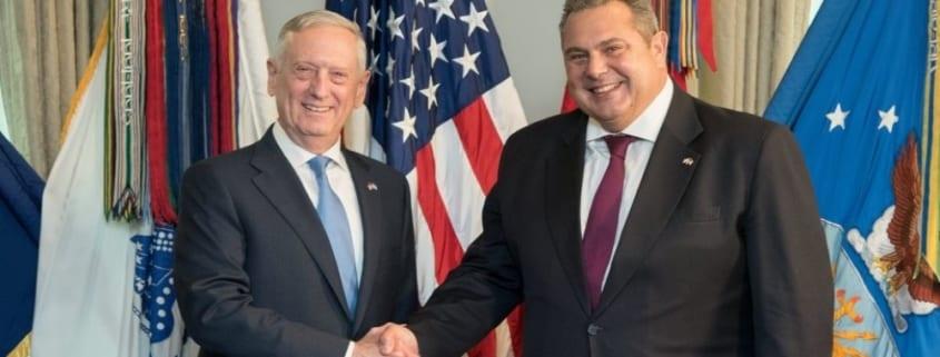 Περισσότερες βάσεις του ΝΑΤΟ στην Ελλάδα ζητά ο Καμμένος από τον Ματίς